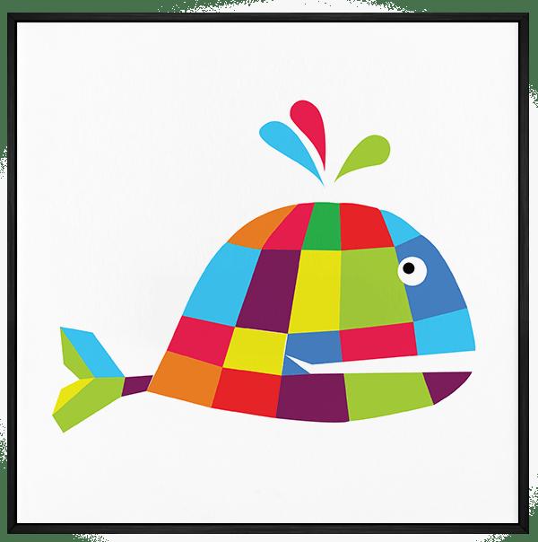 Quadro Infantil Baleia Colorida