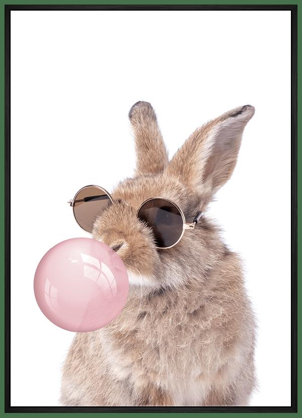 Quadro Infantil Coelho de Óculos Chiclete Bubble Rosa
