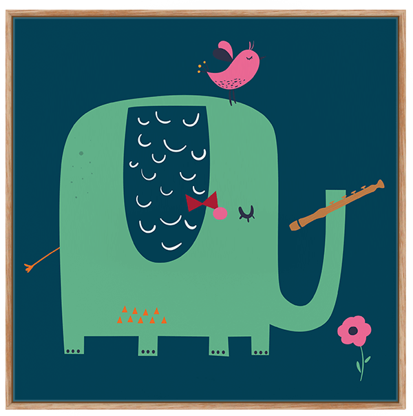 Quadro Infantil Elefante Musical