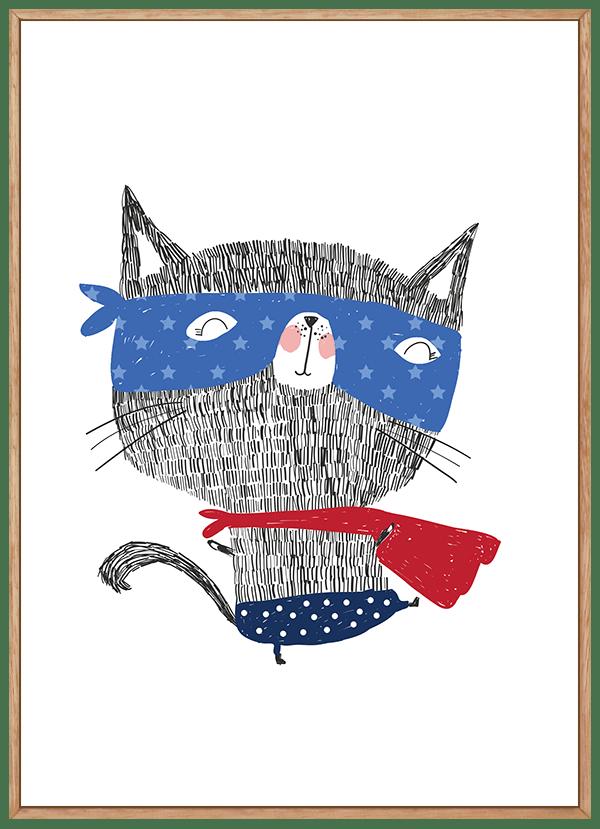Quadro Infantil Gato Herói