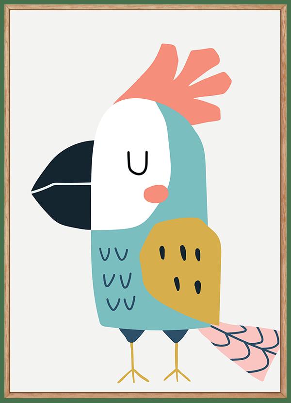 Quadro Infantil Ave Papagaio Azul