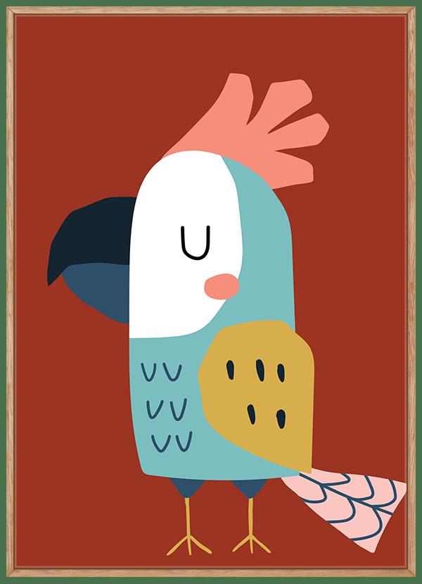 Quadro Decorativo Infantil Ave Papagaio Fundo Vermelho