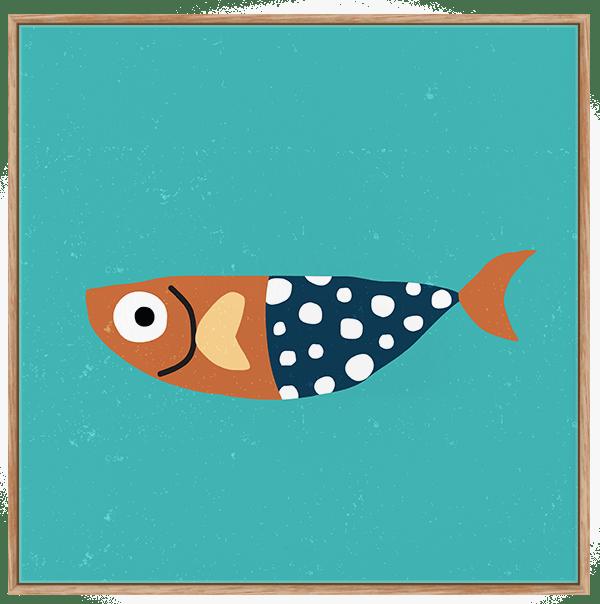 Quadro Infantil Peixinho de Bolinhas - Série Fundo do Mar