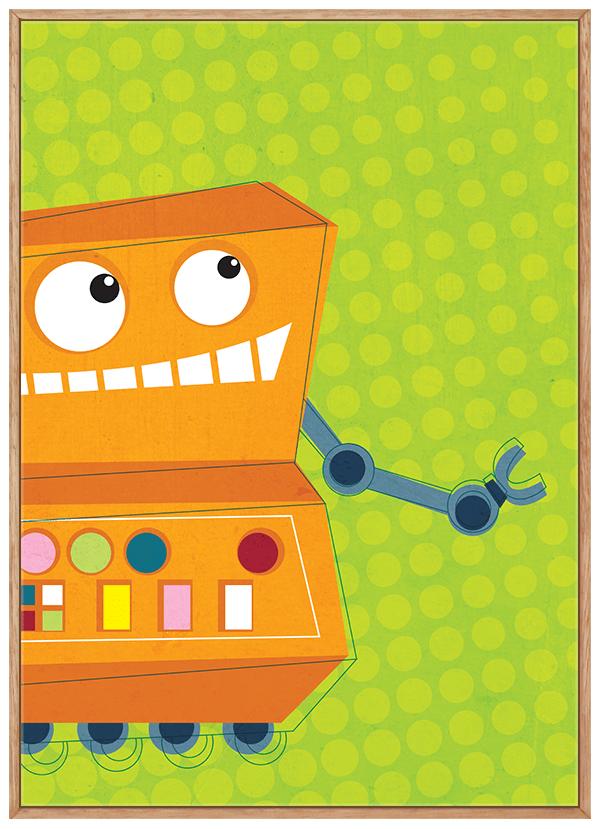 Quadro Infantil Robô Fundo Verde