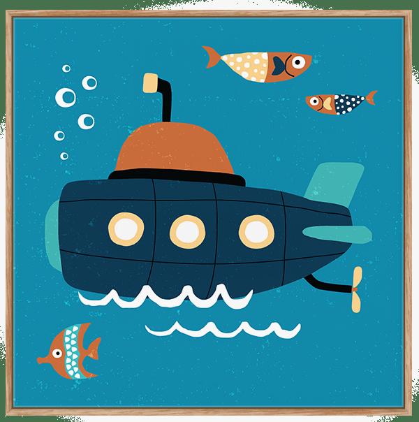 Quadro Infantil Submarino - Série Fundo do Mar