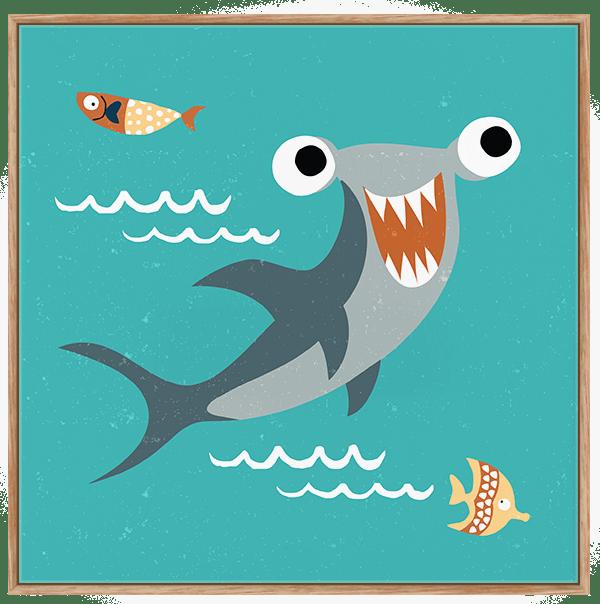 Quadro Infantil Tubarão Martelo - Série Fundo do Mar