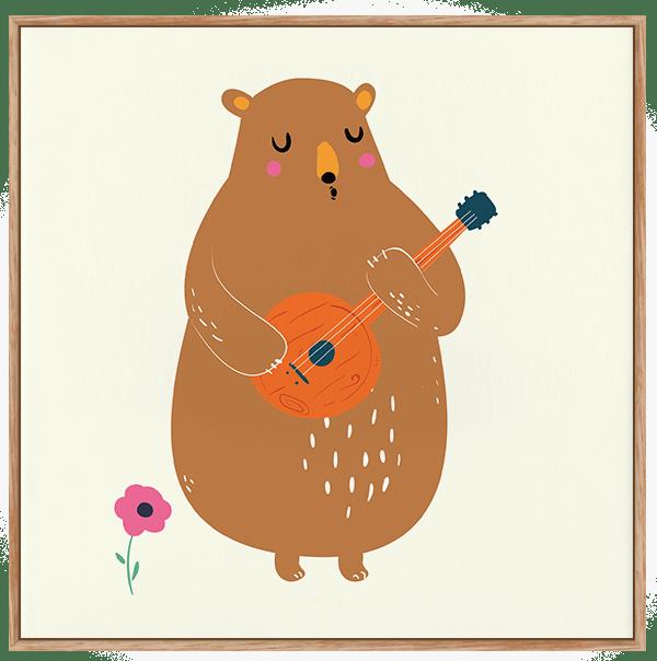Quadro Infantil Urso Musical