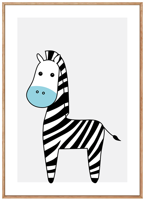 Quadro Infantil Zebra Azul Safari