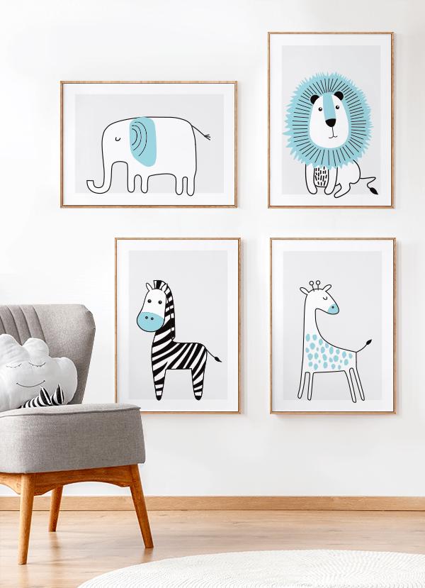Quadros Infantis Elefante, Leão, Girafa e Zebra Azul Safari - Conjunto com 4 quadros