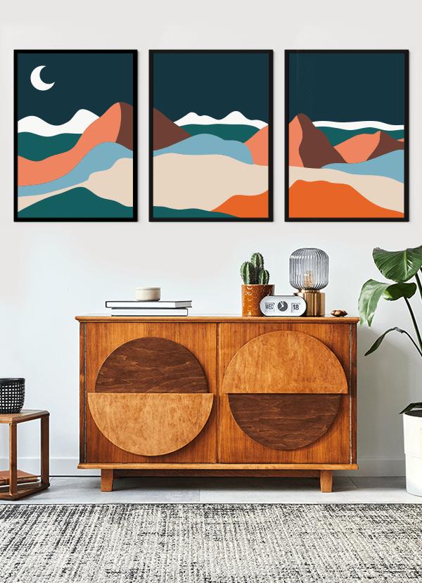 Quadros Decorativos Paisagem Colorida Noite - Composição com 3 quadros