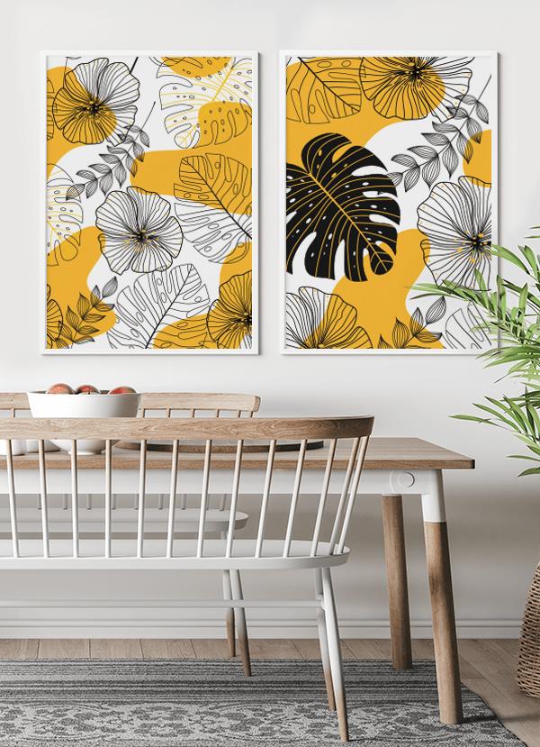 Quadros Decorativos Folhagens Amarelas e Pretas - Composição com 2 quadros