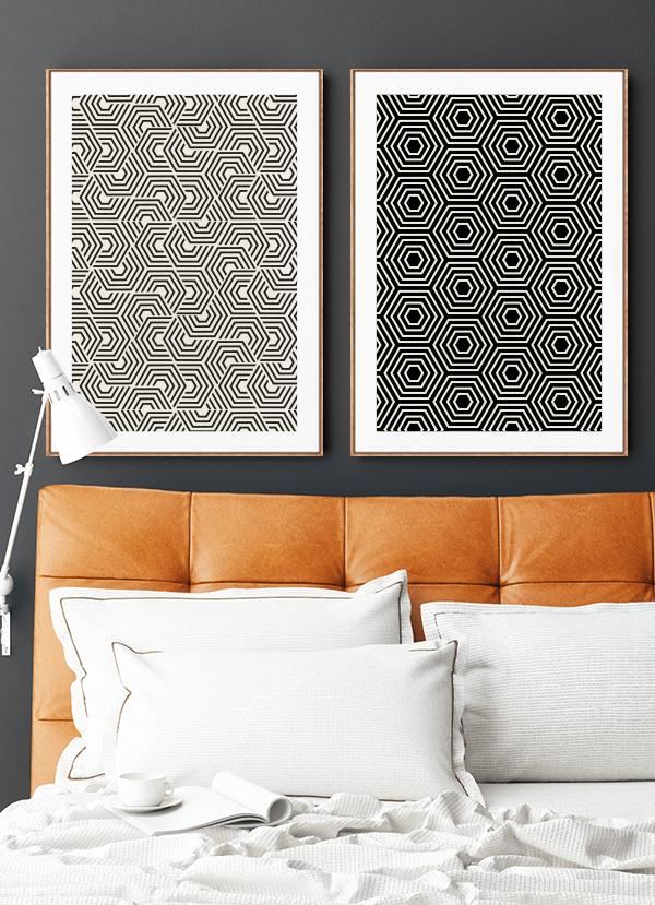Quadros Decorativos Geométricos Étnicos Hexagonais - Composição com 2 quadros