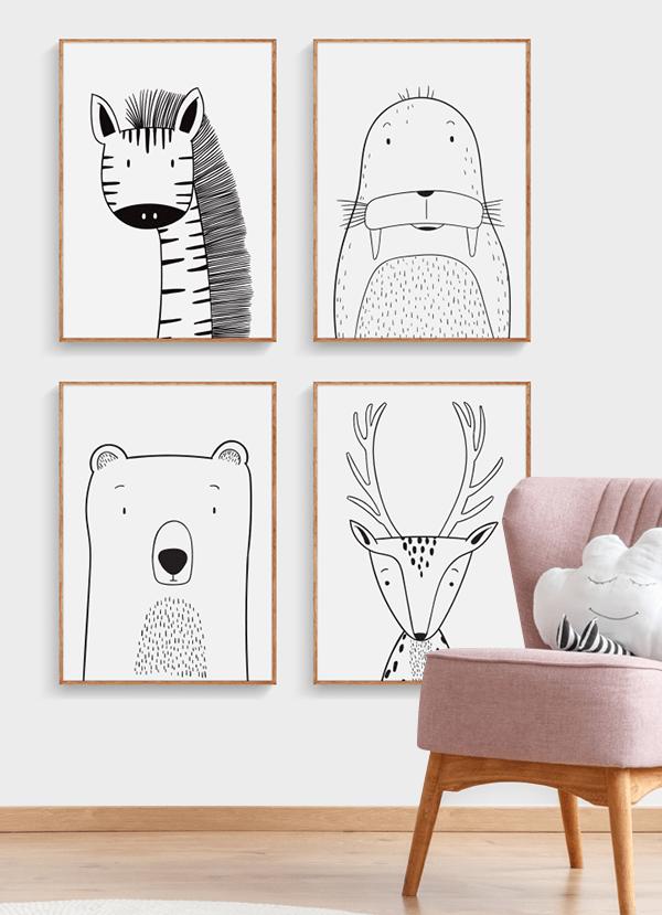 Quadros Infantis Animais Traço - Composição com 4 quadros