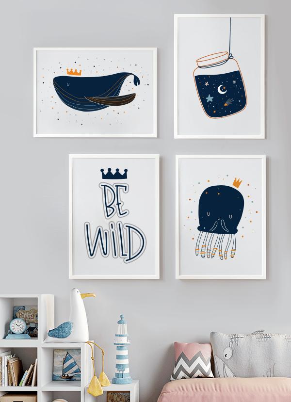 Quadros Decorativos infantis Oceano Azul Marinho - Composição com 4 quadros