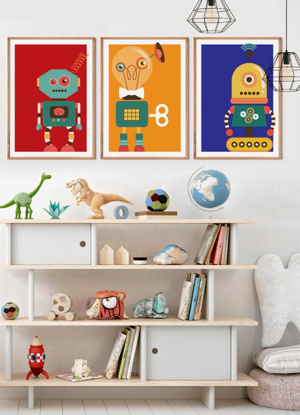 Quadros infantis Robôs Coloridos - Composição com 3 quadros