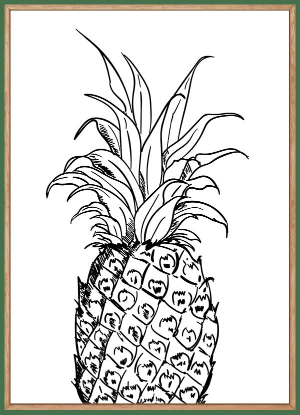 Quadro Decorativo Abacaxi Preto e Branco