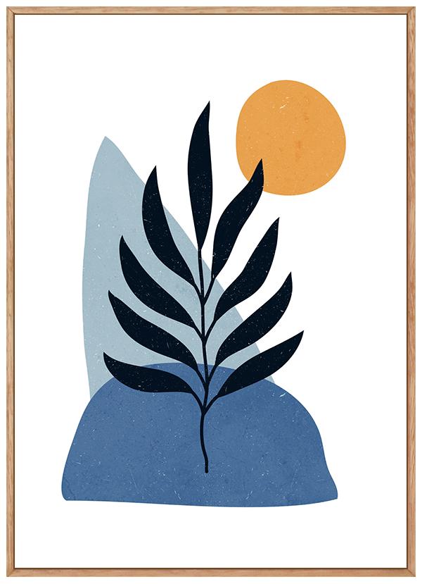 Quadro Abstrato Azul Formas Orgânicas