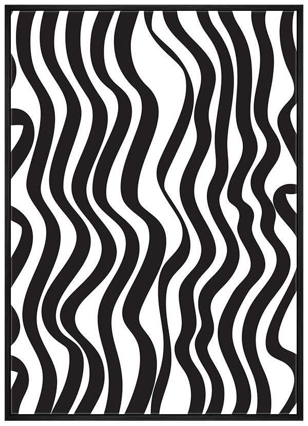 Quadro Abstrato Listras Preto e Branco