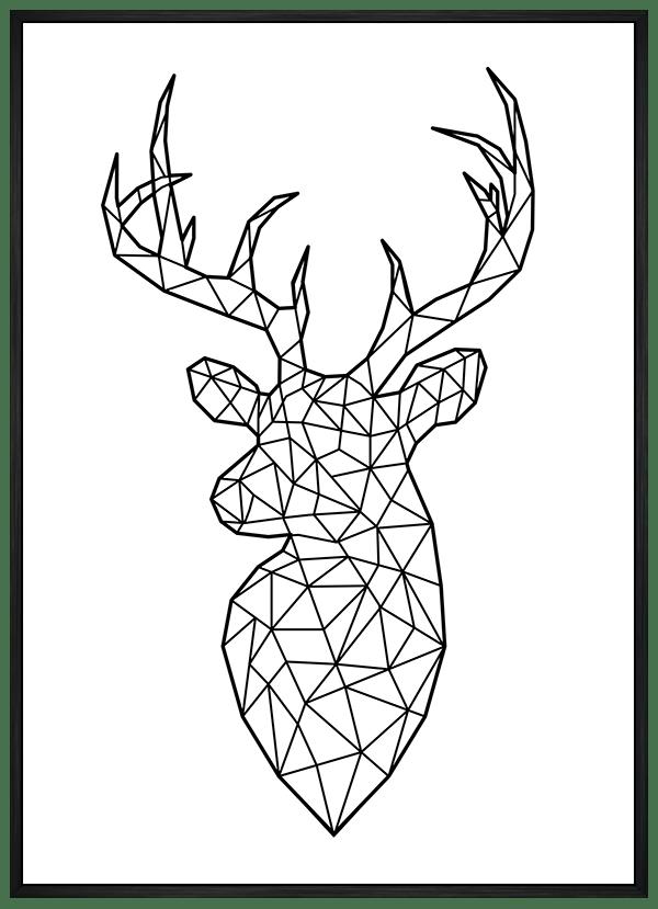 Quadro Escandinavo Alce Geométrico Preto e Branco