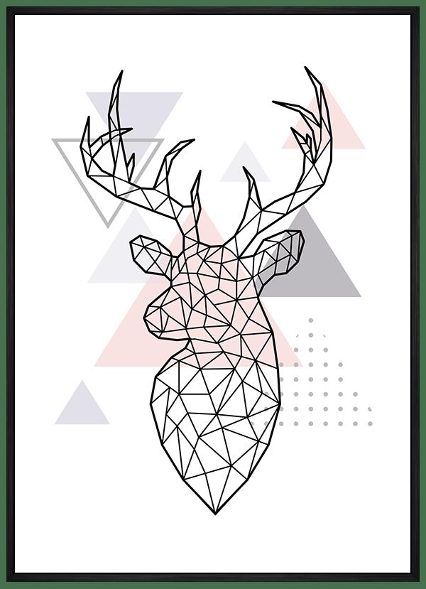Quadro Escandinavo Alce Geométrico Rosa