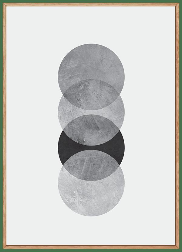 Quadro Escandinavo Cinza Círculo com Textura