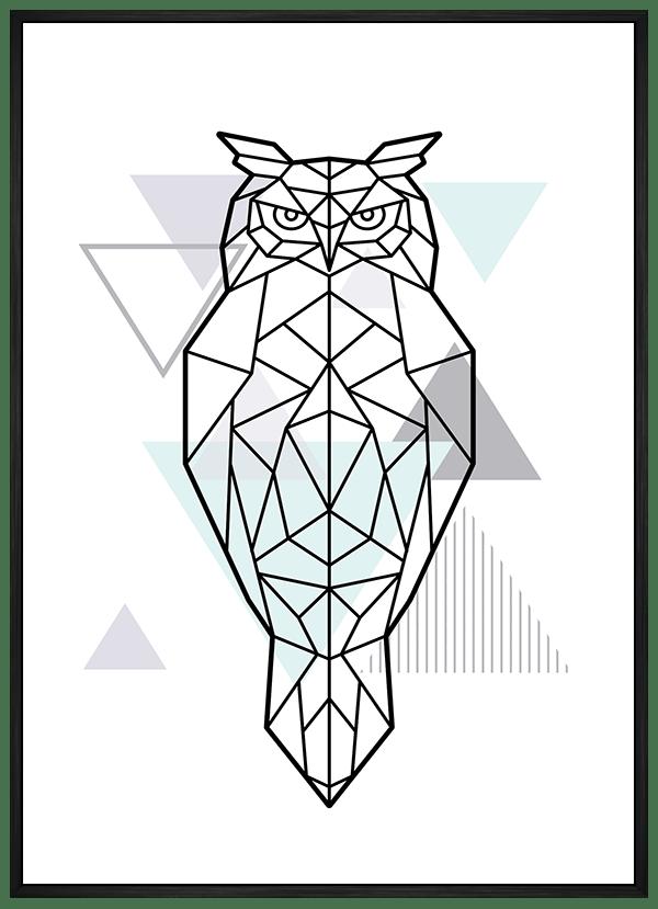 Quadro Escandinavo Coruja Geométrica Verde