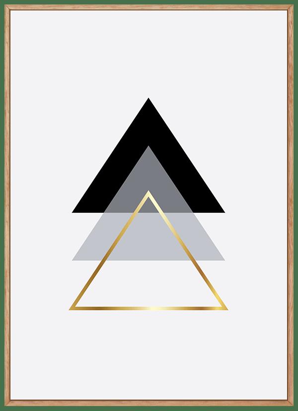 Quadro Escandinavo Triângulo Dourado