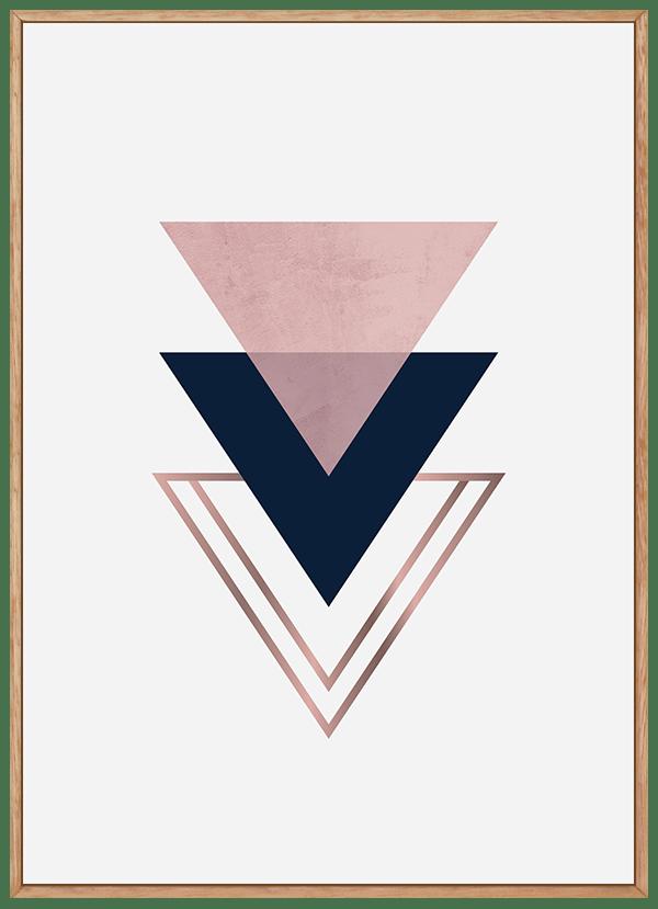 Quadro Escandinavo Triangulo Rosa