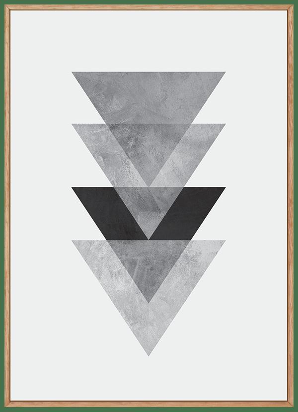 Quadro Escandinavo Cinza Triângulos com Textura