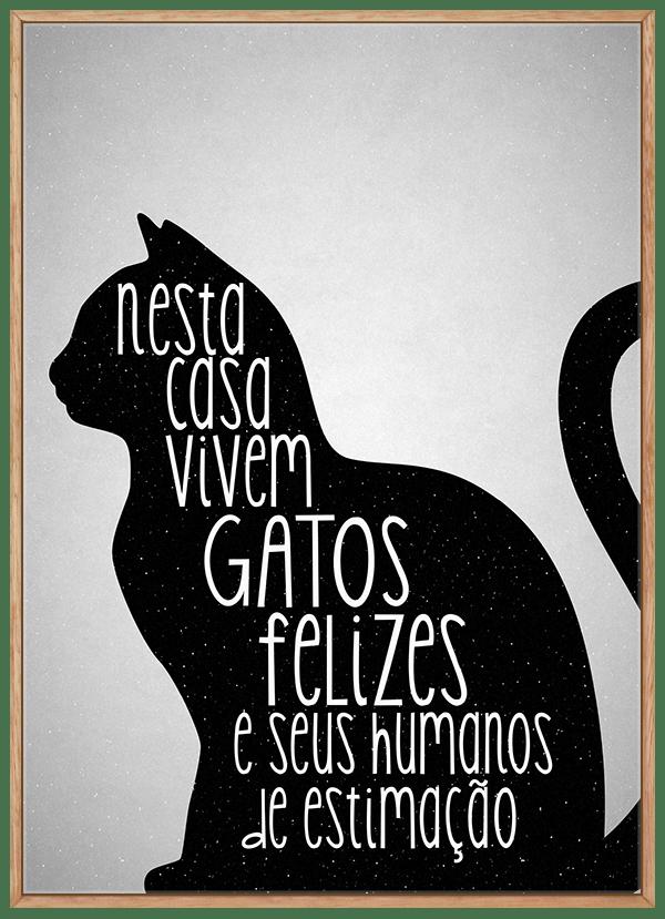 Quadro Decorativo Gatos Felizes frase
