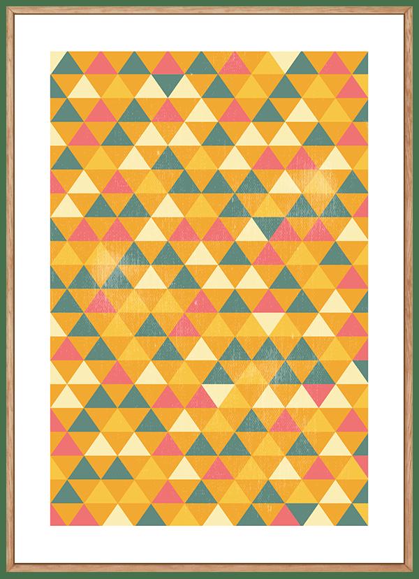 Quadro Geométrico Triângulos Amarelos