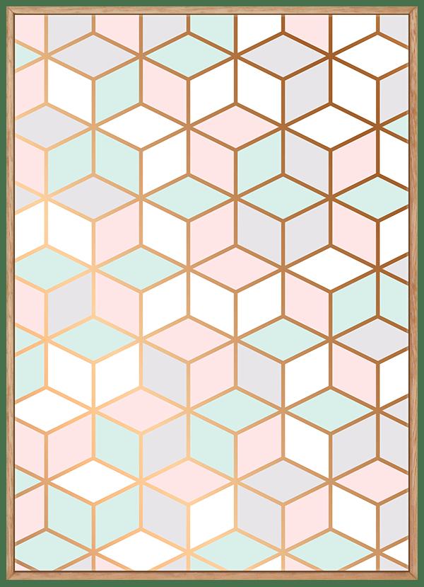 Quadro Escandinavo Geométrico Cubo Rosa