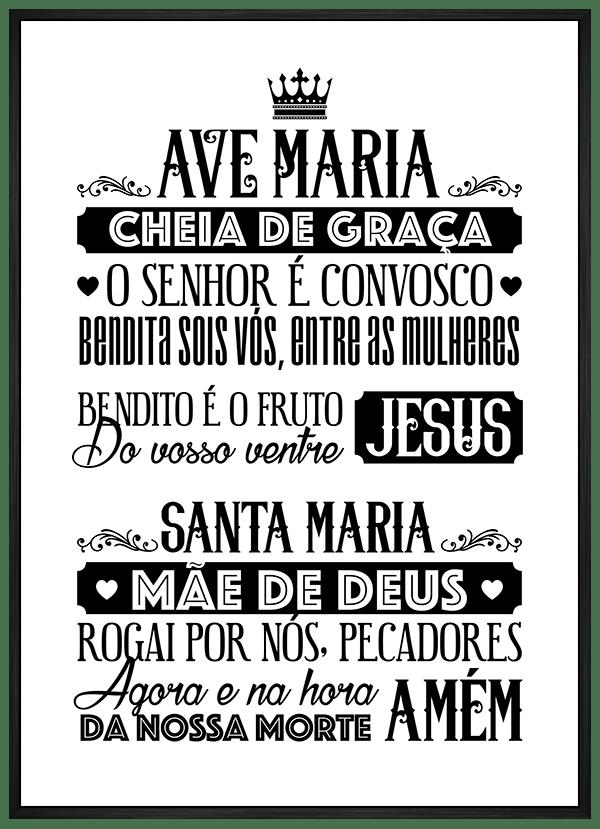 Quadro Oração Ave Maria Branco e Preto