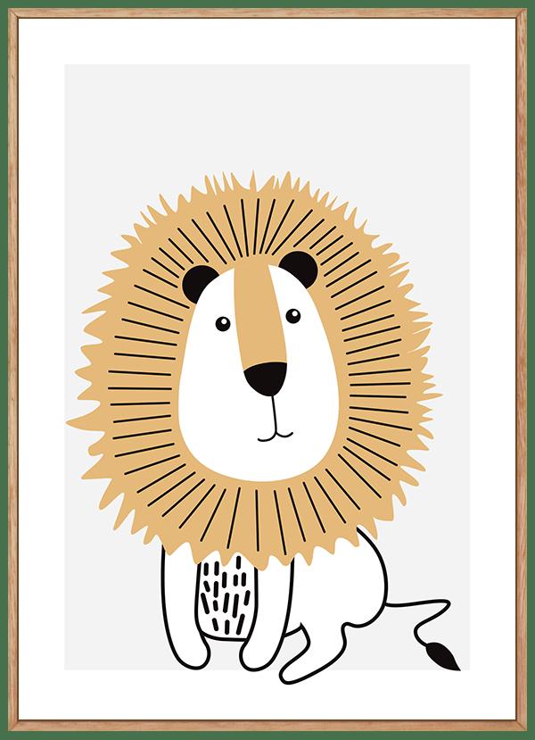 Quadro Infantil Leão Bege Safari