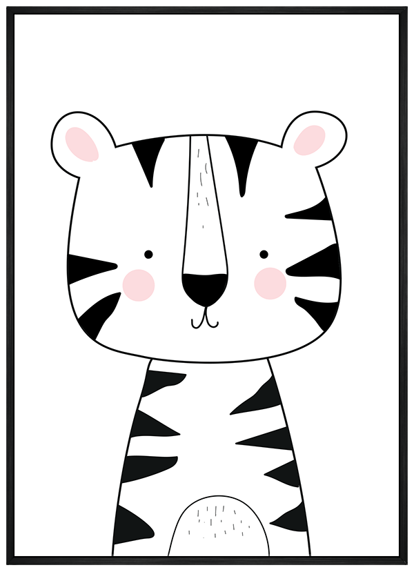 Quadro Infantil Tigre Preto e Branco