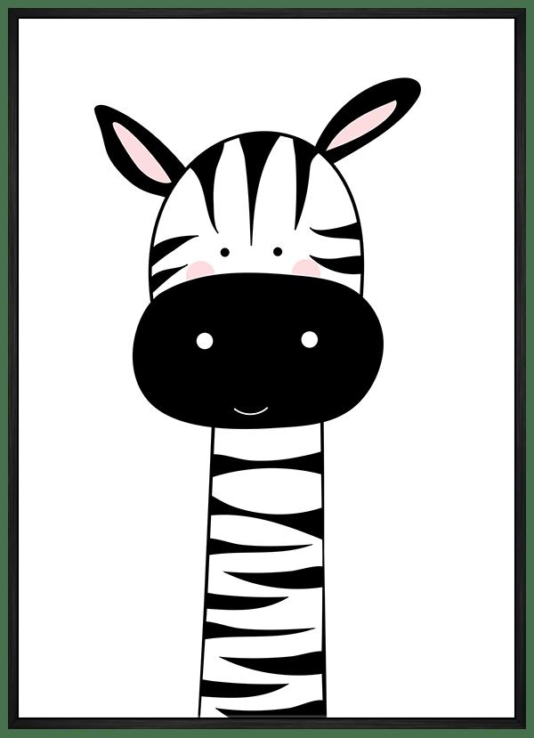 Quadro Infantil Zebra Preto e Branco