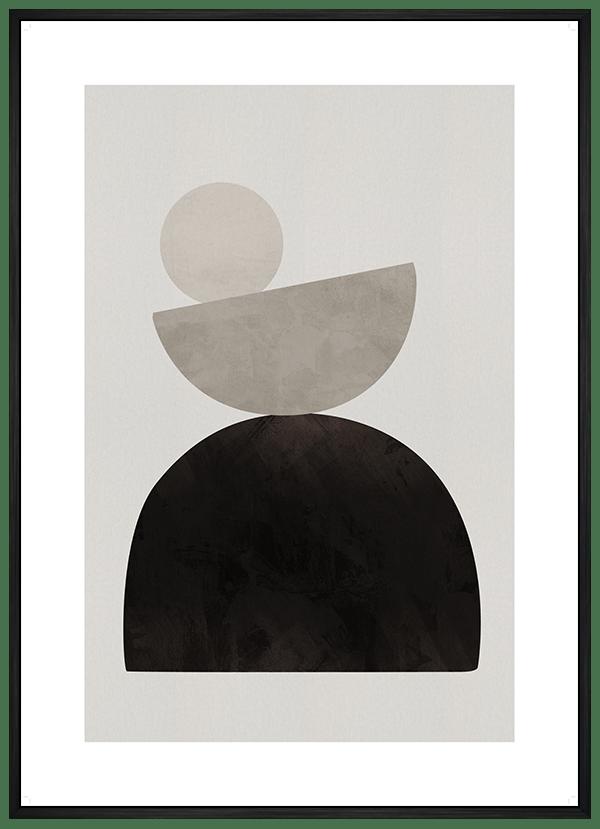 Quadro Decorativo Abstrato Geométrico Formas Cinza