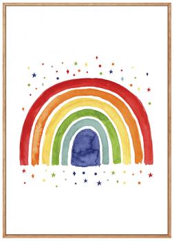 Quadro Decorativo Infantil Arco-Iris Aquarela