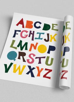 Quadro Infantil ABC divertido colorido