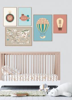 Quadro Decorativo Infantil Balão Steampunk