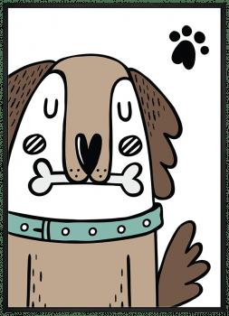 Quadro Infantil Cachorro Marrom