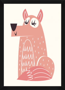 Quadro Decorativo Infantil Cachorro Série Rosa