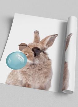 Quadro Decorativo Infantil Coelho de Óculos Chiclete Bubble Azul
