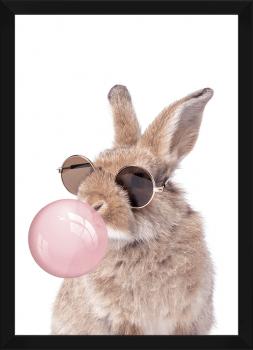 Quadro Decorativo Infantil Coelho de Óculos Chiclete Bubble Rosa