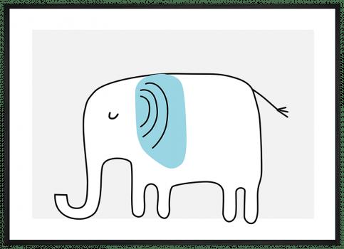 Quadro Decorativo Infantil Elefante Azul Safari