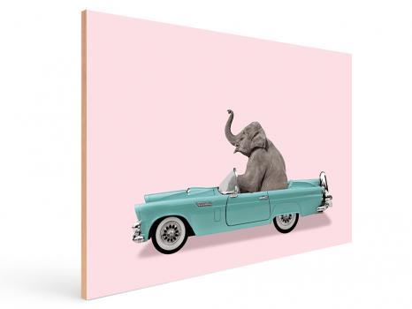 Quadro Decorativo Infantil Elefante Carro Azul