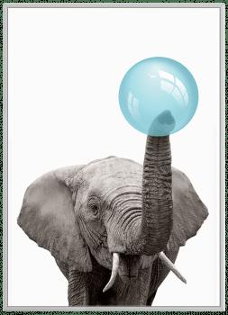 Quadro Decorativo Infantil Elefante Chiclete Bubble Azul