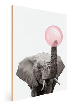 Quadro Decorativo Infantil Elefante Chiclete Bubble Rosa