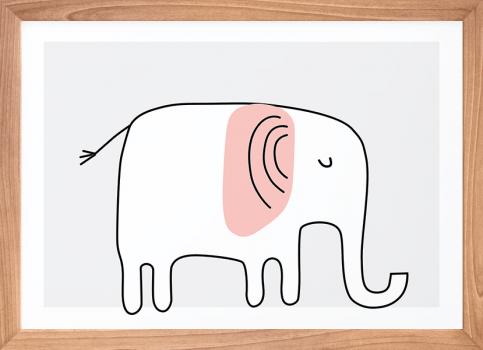 Quadro Decorativo Infantil Elefante Rosa Safari