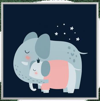 Quadro Decorativo Infantil Elefantes - Série Amor